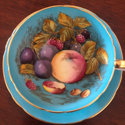 Turquoise Blue D. Jones Orchard Gold Fruit Painted Aynsley Tea Cup and Saucer
