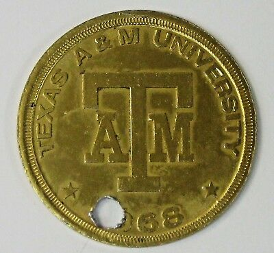 1968 TEXAS A&M Football Schedule Coin ENCO GASOLINE OIL Token