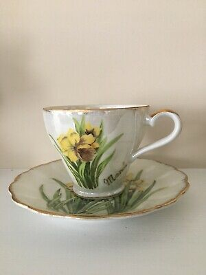 Beautiful Vintage Norcrest Daffodil March Birthday Cup & Saucer