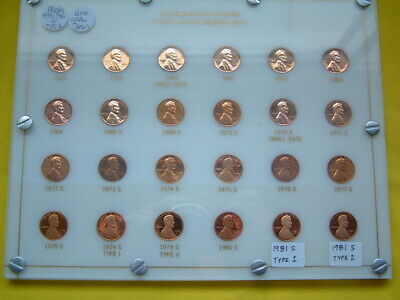 COMPLETE SET COPPER PROOF MEMORIAL CENTS W/TYPE 2's,SMALL DATES,CAPITOL PLASTIC