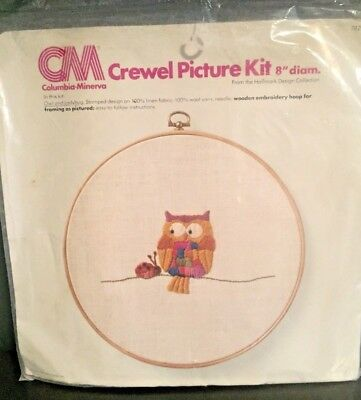 "Vintage 1976 Hallmark Columbia Minerva Owl and Ladybug Crewel Picture Kit 8"" New"