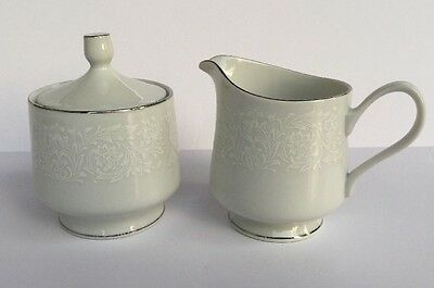 Carlton Fine China from Japan Creamer and Sugar Bowl in Plymouth Pattern Exc!