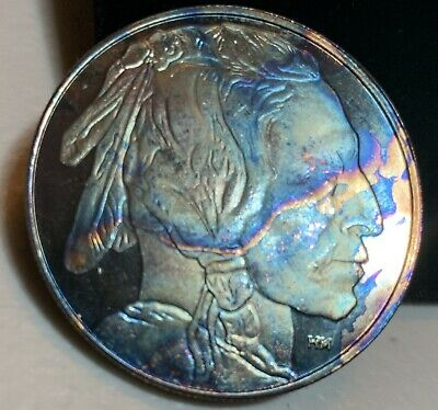 American Buffalo 1oz .999 Fine Silver Bar-Rainbow Toning Very Beautiful -Quicksh