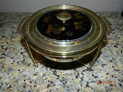 Vintage 2 Qt Fire King George Briard Casserole W/Stand and Chafing Dish