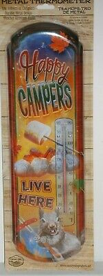 #41203 Happy Campers Live Here Tin Thermometer by Countryside Products