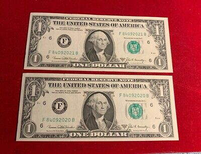 1969 Two Consecutive One $1 Dollar Bill Federal Reserve Notes