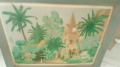 Vintage Antique 19th Century French Print Signed Limited Edition Hand Colored