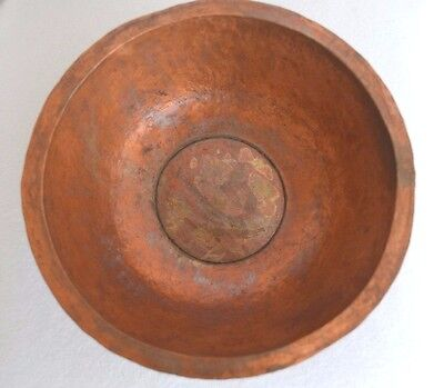 "Vintage Copper Hand Made Hammered Design 8 1/4"" Round Raised Bowl Original Art"