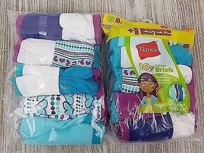 Two Packs Hanes Girls Briefs Size 10 Soft Total of 18 Pairs New Free Shipping