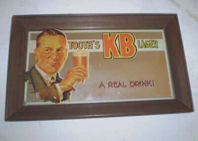 Old Framed bar mirror TOOTH'S KB LAGER   - A Real Drink