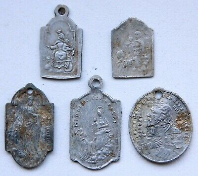 Group Of Ancient Old Catholic Medallion Pendant Scapular Szkaplerz (FBR)