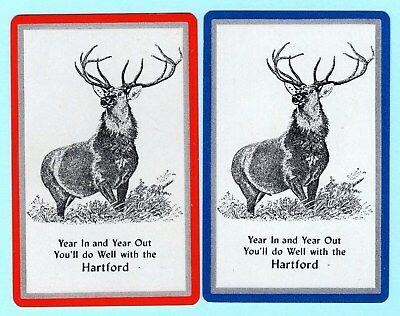 2 Single VINTAGE Playing/Swap Cards ANIMALS DEER STAG Ad HARTFORD INSURANCE A23