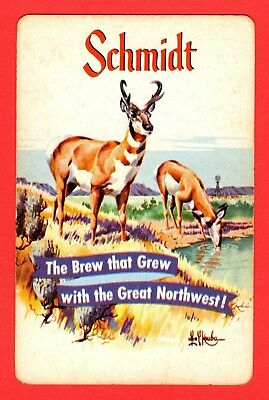 1 Single VINTAGE Playing/Swap Card ANIMALS DEER IMPALA Adv Alcohol SCHMIDT A28