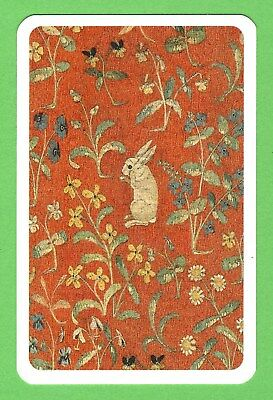 1 Single VINTAGE Playing/Swap Card ANIMALS RABBIT IN FIELD OF FLOWERS A35