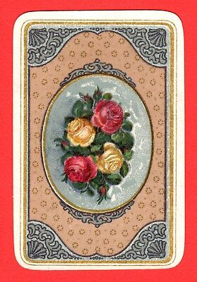 1 Single VINTAGE Swap/Playing Card 3/4 Size FLOWERS ROSES IN ORNATE OVAL #73