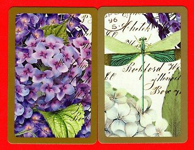 2 Single VINTAGE Swap/Playing Card FLOWERS HYDRANGEA DRAGON FLY #58