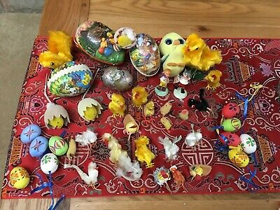 VINTAGE EASTER PAPERMACHE WEST GERMAN EASTER EGGS AND VINTAGE Rabbit Mould