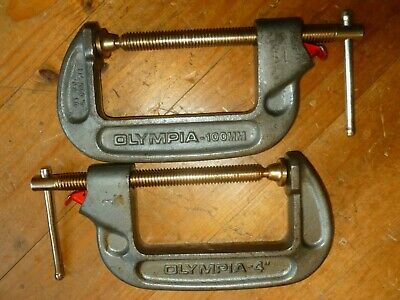 """C CLAMPS- QUICK RELEASE x2 : vintage OLYMPIA U.S.A. CIRCA 1973 ( 4"""" """"/100mm)."""