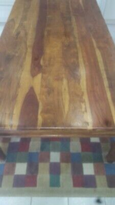 SOLID WOOD SHEESHAM Dining Table. L 2.4m. W 1.2m. H 0.76. Seats 10 to 12. Lovely