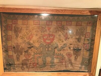 """1500 Year Old Large Pre-Columbian ROYAL TEXTILE Museum Grade 36""""X57"""" Peru Moche"""