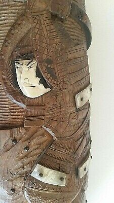 Japanese MEIJI finely carved WARRIOR brush pot with mother of pearl & metal decn
