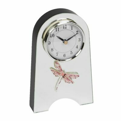 Glass Mirror Arched Mantel Clock Living Room Bedroom Arabic Dial Pink Dragonfly