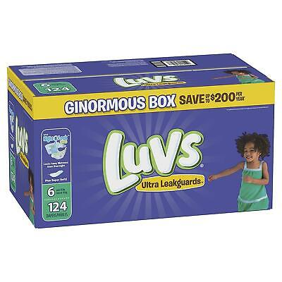 Luvs Ultra Leakguards Disposable Diapers, Size 6, 124 Count For Baby Care New