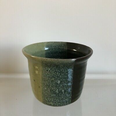 VINTAGE plant pot - small GREEN pottery - retro home mid century