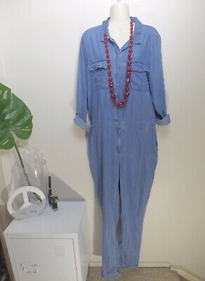 Sportsgirl Denim Jumpsuit 14 Lyocell Long Sleeves