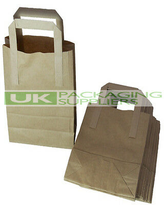 "100 SMALL KRAFT BROWN PAPER CARRIER BAGS 7 x 3.5 x 8.5"" SOS FOOD TAKEAWAY - NEW"