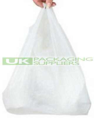 """500 SMALL WHITE PLASTIC POLYTHENE VEST STYLE CARRIER BAGS 10 x 15 x 18"""" - NEW"""
