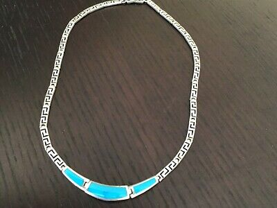Vintage 925 Sterling Silver & Turquoise Greek Key Style Necklace/Choker 46cm