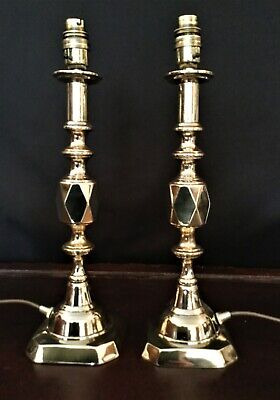 A Pair Of Antique Victorian Diamond Brass Candlestick Upcycled Table Lamp Lights