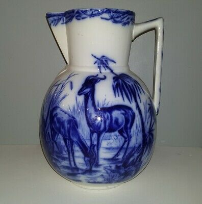 Superb Antique Flow Blue Aesthetic Farm House Water Pitcher With Deer & Bird