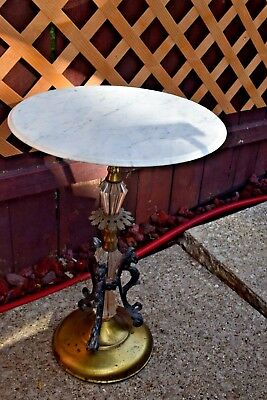Vintage Marble glass and cast iron side table made by catco in Italy.