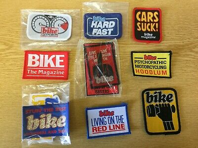 VINTAGE 9 BIKE Magazine Motor cycle Patches  / Sew on Badges / Stickers