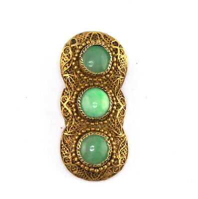 Antique Vintage Marked China Silver Gilt Filigree Jade Cabochon Dress Fur Clip
