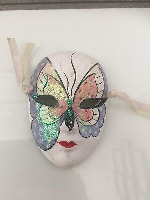 Wall Face Mask Butterfly Glitter Ribbon Theatrical **defects** Vintage Diy
