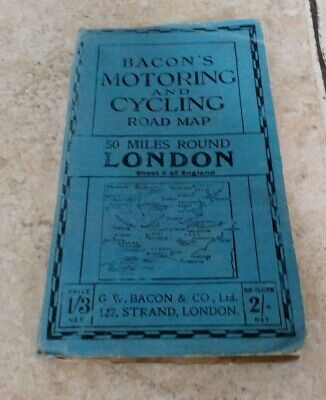 Antique / Vintage Bacon's Motoring and Cycling Map , 50 Miles Round  London