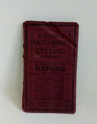 Antique / Vintage Bacon's Motoring and Cycling Map , 50 Miles Round  Oxford