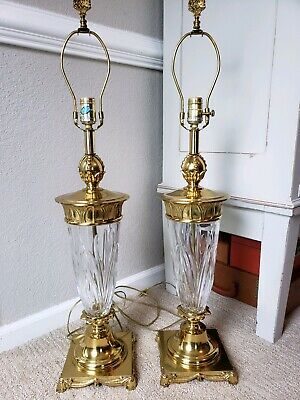 Pair Vintage Brass Crystal Urn Trophy Style MId Century Lamps Hollywood Regency