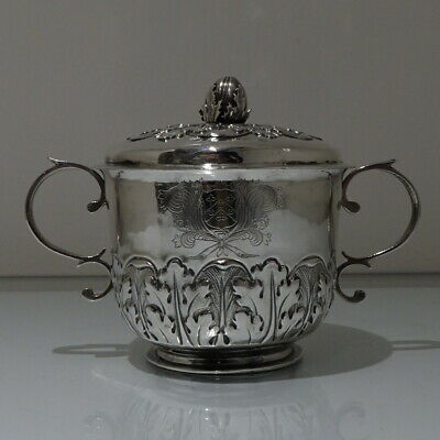 17th C Antique James II Sterling Silver Porringer & Cover Lon 1687 Joseph Moore
