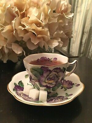 Vintage Bone China Tea Cup and Saucer set, made in England- purple floral design