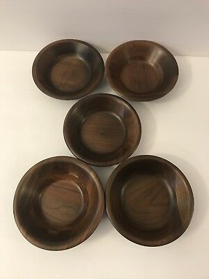 Set 5 Vintage Vermillion Real Walnut Wood Bowls Wooden Salad Individual Dishes