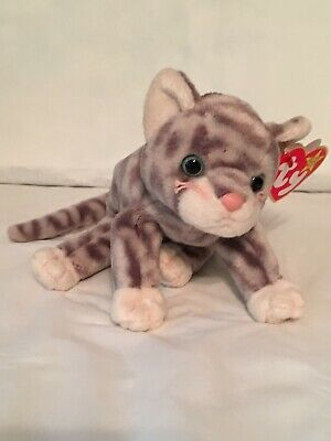 TY Beanie Baby - SILVER the Cat - Pristine with Mint Tags -PE Pellets - RETIRED