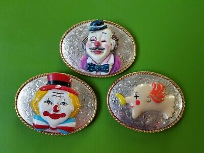 Vintage 3 Circus Funny Clown Belt Buckles Silver & Gold Tone Ivan Bow Tie Comic