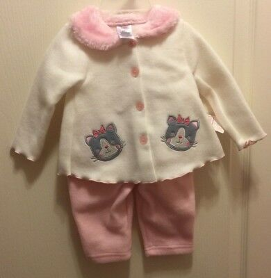 Brand New Girl's Swiggles Kitty Cats Fuzzy Button Jacket & Pants Outfit Set 3-6m