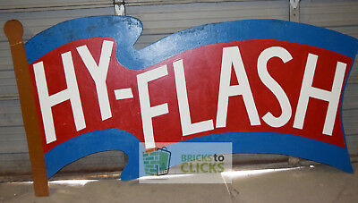 """Hy-Flash Miller Oil Gas Station Company Sign Flag Vintage 1950s Approx 44""""x94"""""""