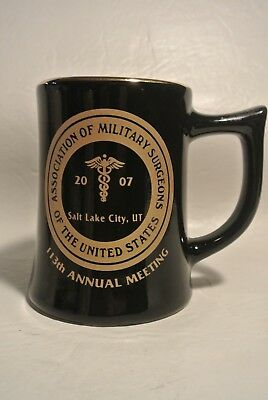 2007 Assication of Military Surgeons Black Mug w/ Gold Trim Salt Lake, Ut.