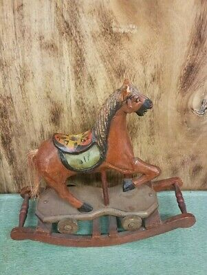 Nice Antique, Hand-Carved, Wooden Rocking Horse Pony, Hand Painted .